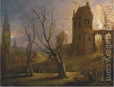A town at sunset with a house on fire in the foreground by (after) Daniel Van Heil - Reproduction Oil Painting