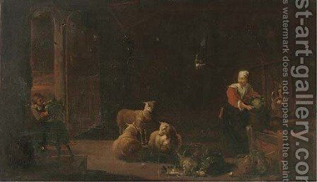 A barn interior with sheep and a woman preparing vegetables by (after) David Ryckaert II - Reproduction Oil Painting