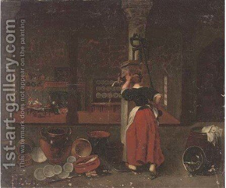 A kitchen interior by (after) David Ryckaert II - Reproduction Oil Painting