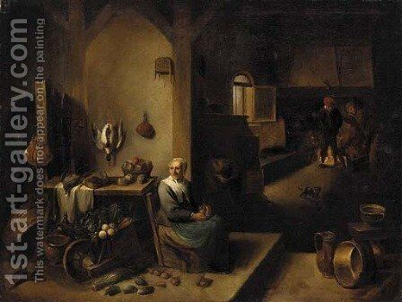A kitchen interior with a lady seated at a table and boors around a fire beyond by (after) David The Younger Teniers - Reproduction Oil Painting