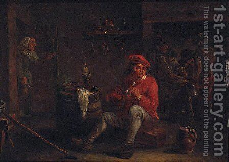 A man smoking a pipe in an inn with card players beyond by (after) David The Younger Teniers - Reproduction Oil Painting