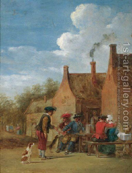 A peasant couple and travellers at table outside an inn by (after) David The Younger Teniers - Reproduction Oil Painting