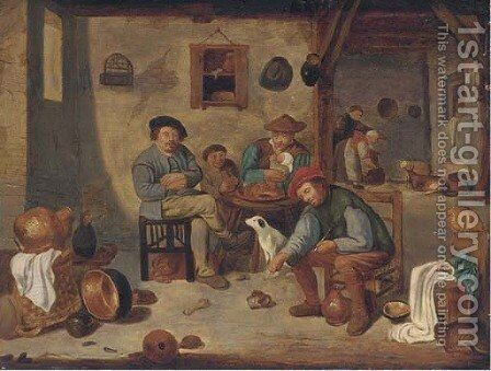 A peasant family in an interior by (after) David The Younger Teniers - Reproduction Oil Painting