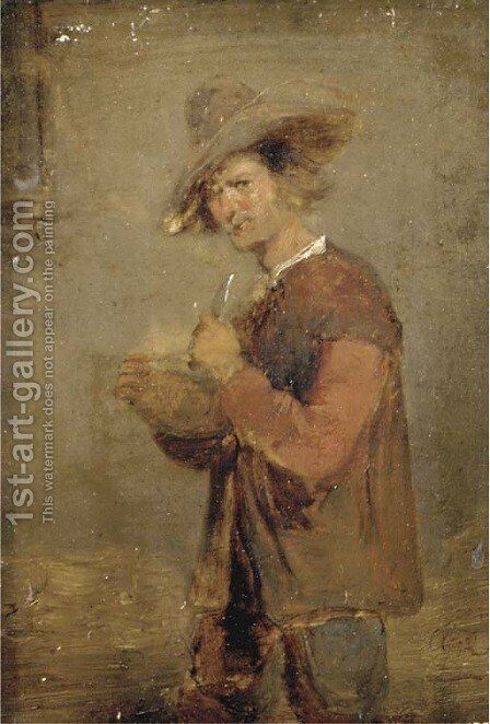 A peasant in an interior by (after) David The Younger Teniers - Reproduction Oil Painting