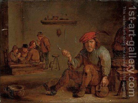 A peasant smoking and drinking in a tavern by (after) David The Younger Teniers - Reproduction Oil Painting