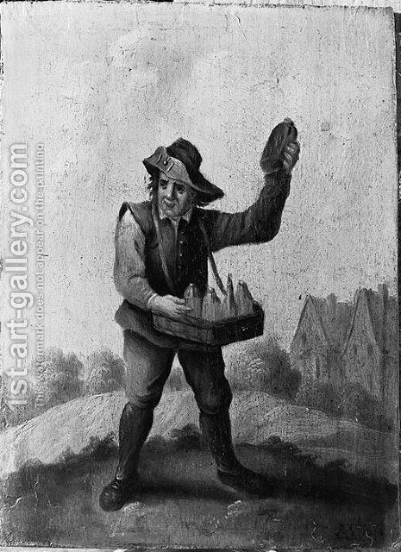 A quack and a boor smoking a pipe, standing small full lengths in landscapes by (after) David The Younger Teniers - Reproduction Oil Painting