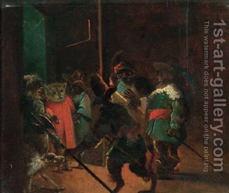 A singerie monkeys dressed as soldiers arresting a cat by (after) David The Younger Teniers - Reproduction Oil Painting