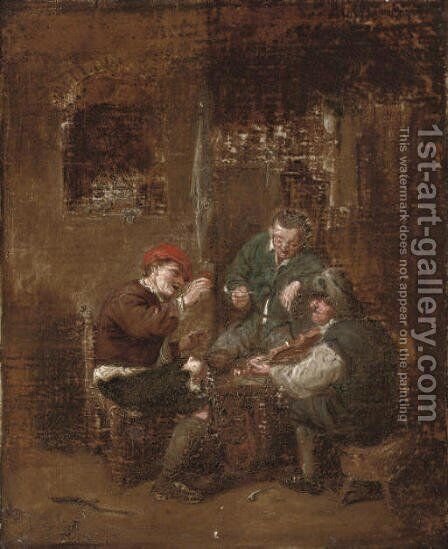 An evening well spent by (after) David The Younger Teniers - Reproduction Oil Painting