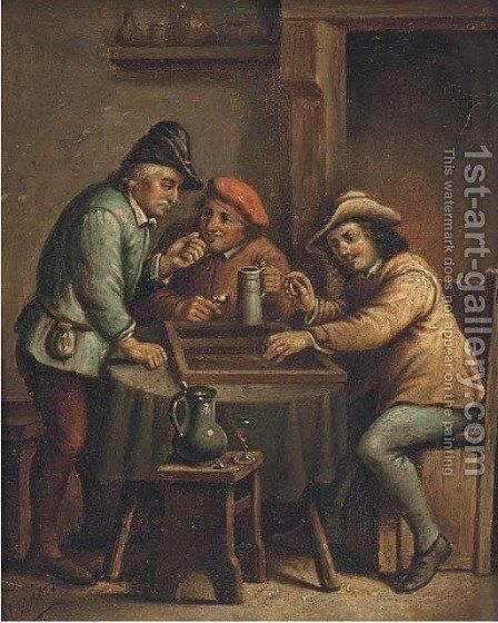 Boors playing backgammon and drinking in an interior by Bartolome Esteban Murillo - Reproduction Oil Painting