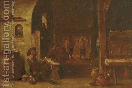 Boors drinking and smoking in an inn by (after) David The Younger Teniers - Reproduction Oil Painting