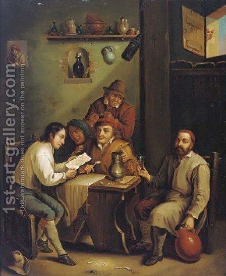 Boors drinking and smoking in an interior by (after) David The Younger Teniers - Reproduction Oil Painting
