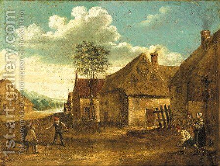 Boors playing at skittle on a farmyard by (after) David The Younger Teniers - Reproduction Oil Painting