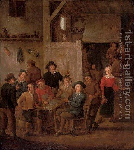 Boors playing cards and merrymaking in a tavern by (after) David The Younger Teniers - Reproduction Oil Painting