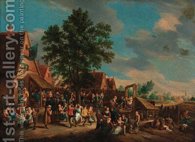 Peasants dancing and merrymaking before an inn by (after) David The Younger Teniers - Reproduction Oil Painting