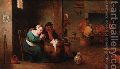 Peasants drinking and playing cards in an inn by (after) David The Younger Teniers - Reproduction Oil Painting