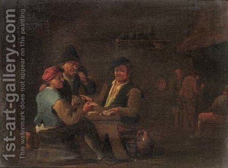 Peasants playing cards in an inn by (after) David The Younger Teniers - Reproduction Oil Painting