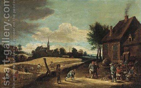 Peasants playing skittles outside an inn with farmhands harvesting in a nearby field by (after) David The Younger Teniers - Reproduction Oil Painting