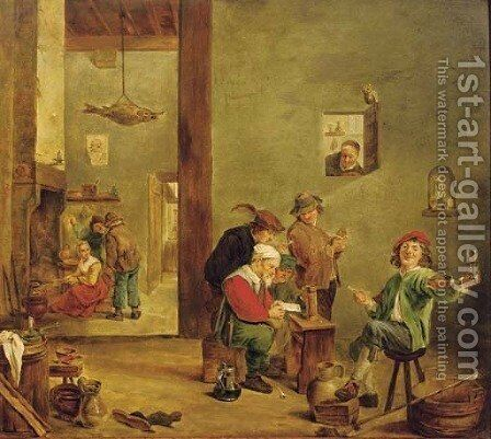 Peasants reading a letter, drinking and smoking in an inn, figures by a fireplace beyond by (after) David The Younger Teniers - Reproduction Oil Painting