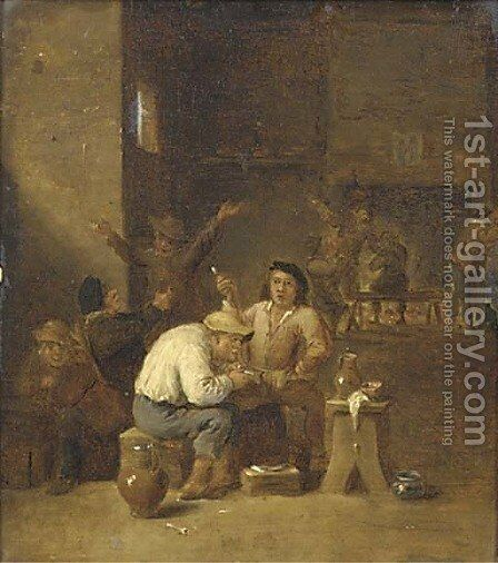Peasants smoking and drinking in a tavern 4 by (after) David The Younger Teniers - Reproduction Oil Painting