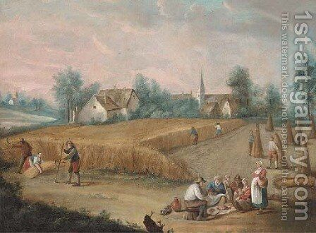 Skittle players in a village; and Peasants harvesting wheat and eating by (after) David The Younger Teniers - Reproduction Oil Painting