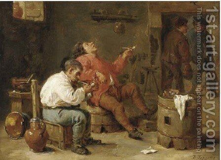 Smokers in an inn by (after) David The Younger Teniers - Reproduction Oil Painting