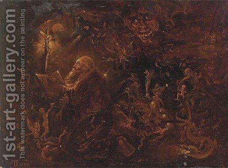 The Temptation of Saint Anthony 4 by (after) David The Younger Teniers - Reproduction Oil Painting