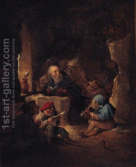 The Temptation of Saint Anthony 5 by (after) David The Younger Teniers - Reproduction Oil Painting