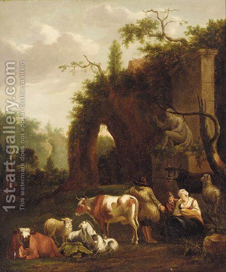 Resting by the ruins by (after) Dirk Van Bergen - Reproduction Oil Painting