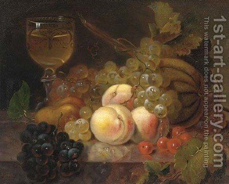 Peaches, a melon, cherries, a pear, grapes and a glass of wine on a marble ledge by (after) Edward Ladell - Reproduction Oil Painting