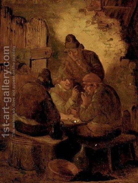 Peasants drinking and smoking in a tavern by (after) Egbert Van Heemskerck - Reproduction Oil Painting