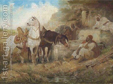 A rest at the watering hole by Eugene Delacroix - Reproduction Oil Painting