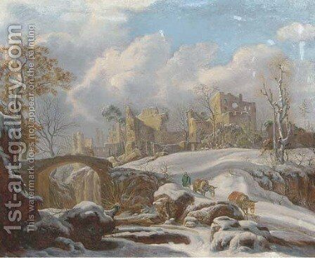 A winter landscape with a peasant and his mules by a frozen stream, ruins in the distance by (after) Francesco Foschi - Reproduction Oil Painting