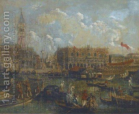 Barges and gondolas on the lagoon, Venice before the Doges' Palace by (after) Francesco Guardi - Reproduction Oil Painting