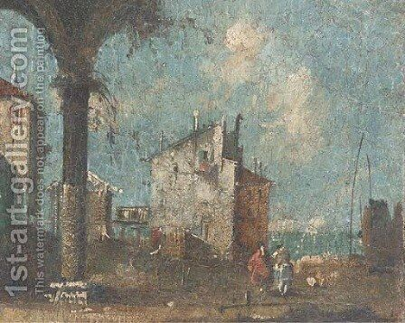 Figures at a Venetian backwater before the Lagoon by (after) Francesco Guardi - Reproduction Oil Painting