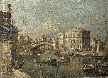 The Grand Canal with the Rialto Bridge by (after) Francesco Guardi - Reproduction Oil Painting