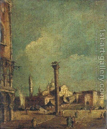 The Piazetta, Venice, looking towards S. Giorgio Maggiore by (after) Francesco Guardi - Reproduction Oil Painting