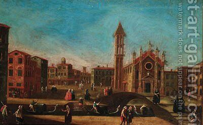 A capriccio view of a Venetian piazza by (after) Francesco Tironi - Reproduction Oil Painting