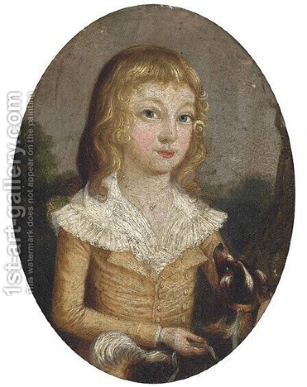 Portrait of a girl and her dog by (after) Francis Alleyne - Reproduction Oil Painting