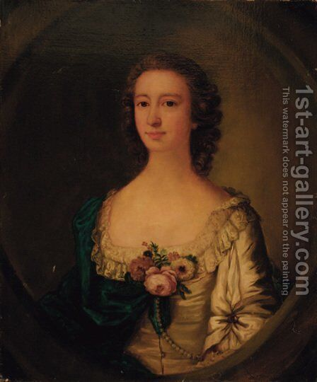 Portrait of a lady, half-length, in a white dress with a blue wrap and flowers at her corsage, feigned oval by (after) Francis Cotes - Reproduction Oil Painting