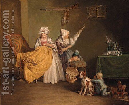 Figures in a interior by (after) Francis Wheatley - Reproduction Oil Painting