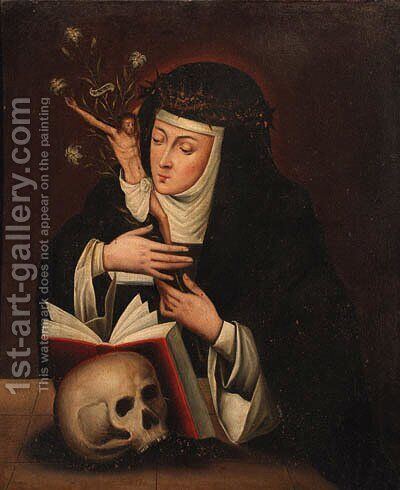 Saint Catherine of Siena by (after) Francisco De Zurbaran - Reproduction Oil Painting