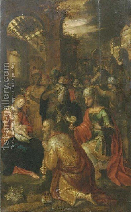 The Adoration of the Magi 4 by (after) Frans II Francken - Reproduction Oil Painting