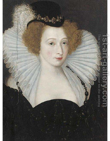 Portrait of a lady, bust-length, in a black jewelled hat and a white ruff by (after) Frans, The Elder Pourbus - Reproduction Oil Painting