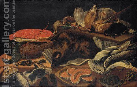 Still life with a peacock, a lobster, a wild boar, a cormorant and game birds on tables by (after) Frans Snyders - Reproduction Oil Painting