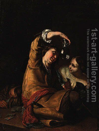 A guard holding an upturned roemer with a serving wench in a tavern by (after) Frans Van Mieris - Reproduction Oil Painting