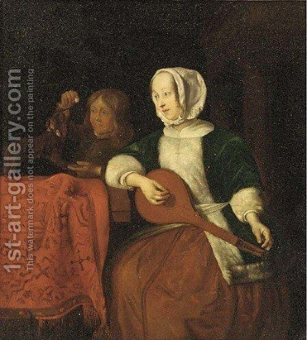 A lady playing a lute with a boy and his dog behind by (after) Gabriel Metsu - Reproduction Oil Painting