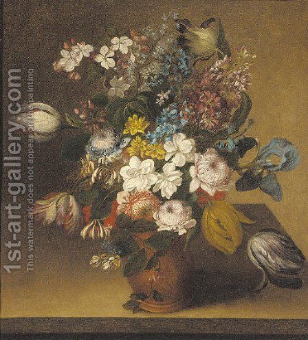 Honeysuckle, irises, stocks, tulips, chrysanthemums and narcissi in a vase on a table by (after) Gaspar-Pieter The Younger Verbruggen - Reproduction Oil Painting