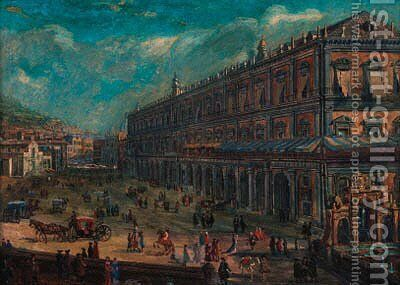 Piazza del Palazzo Reale, Naples by (circle of) Wittel, Gaspar van (Vanvitelli) - Reproduction Oil Painting