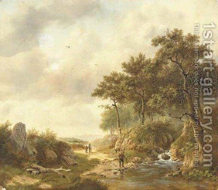 A summer landscape with figures by a stream by (after) Georg Andries Roth - Reproduction Oil Painting