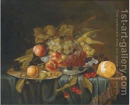 A bowl and a salver of grapes, plums and blackberries by cherries and a lemon on a draped table. by (after) George Forster - Reproduction Oil Painting
